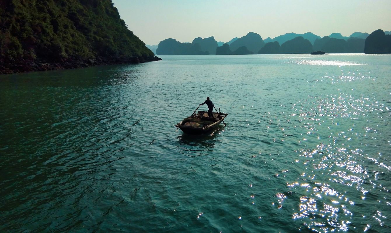 Boats in Halong Bay in Vietnam