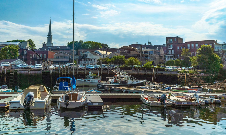The historic harbor in Camden, Maine.