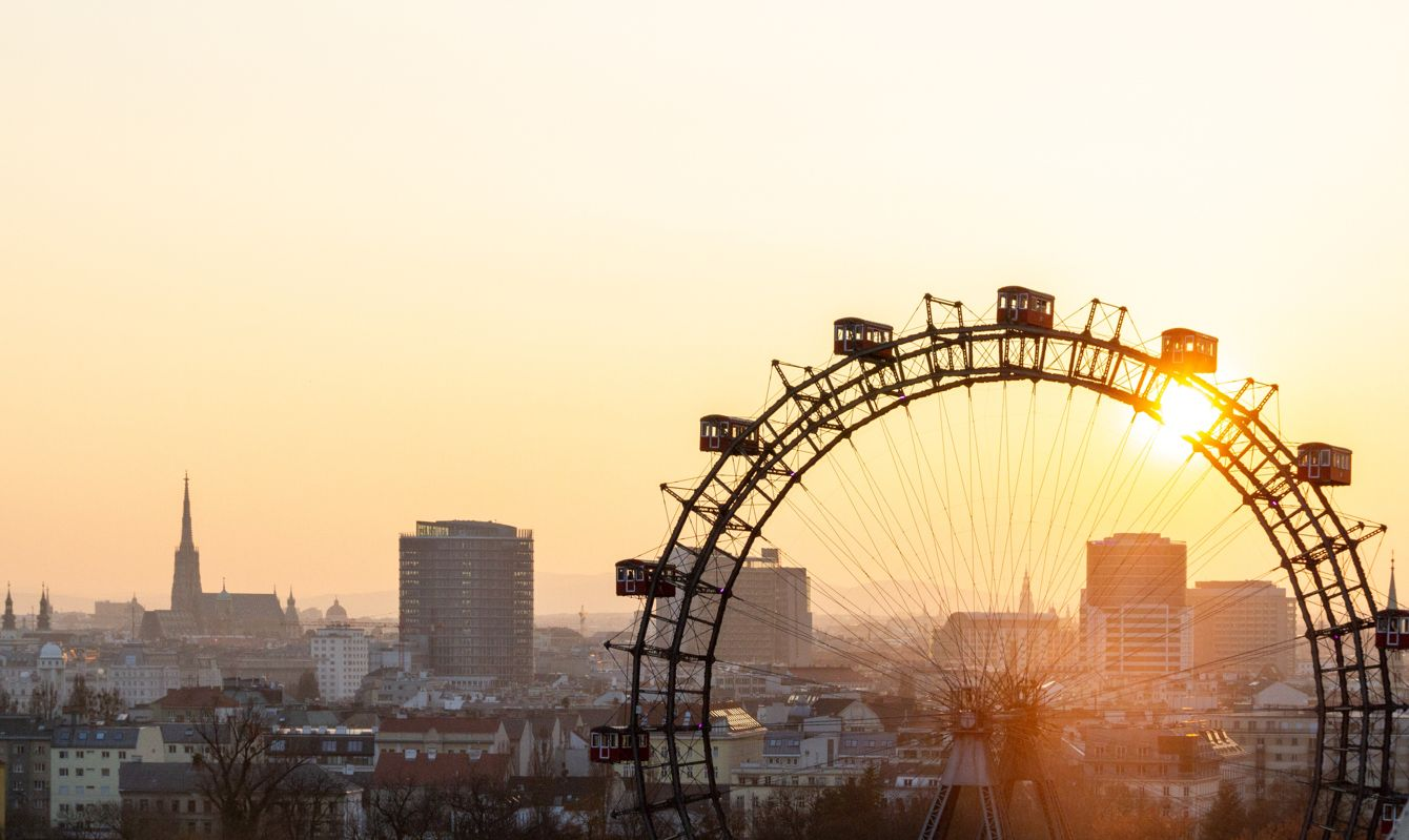 Wiener Riesenrad Ferris wheel at sunset overlooking Vienna