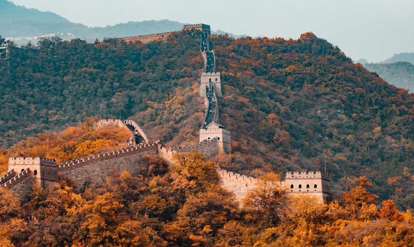 The Great Wall of China winding through trees.