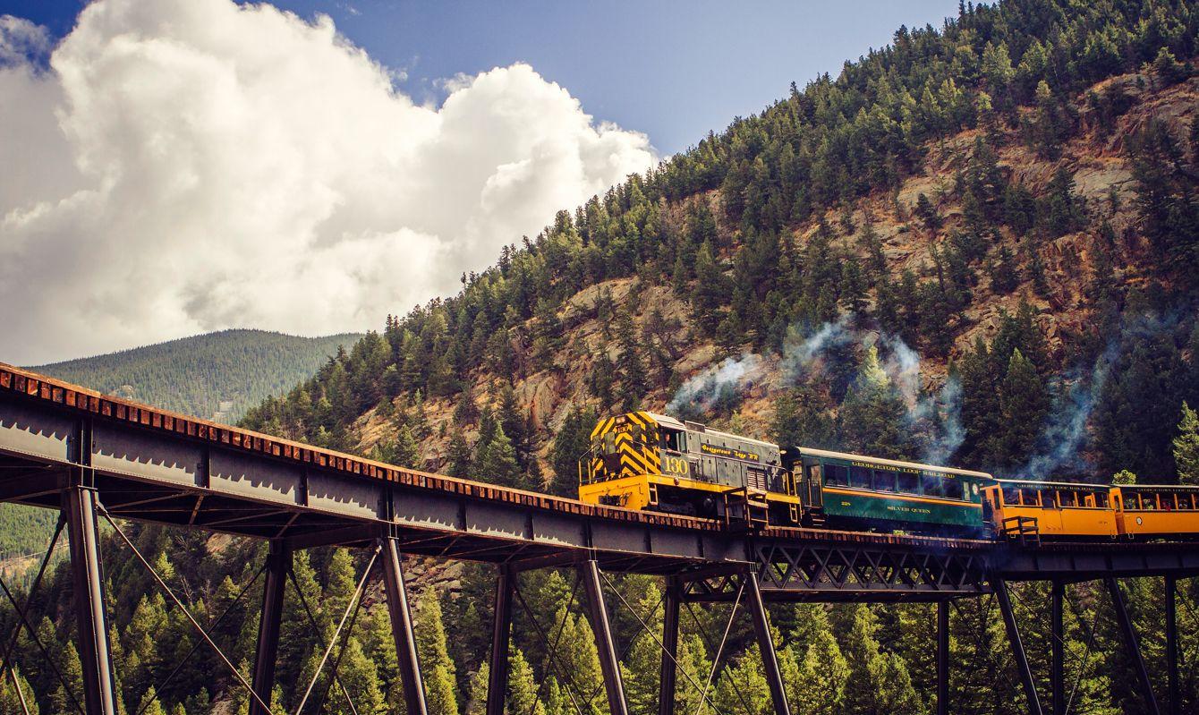 Train over a bridge near Georgetown, CO, USA
