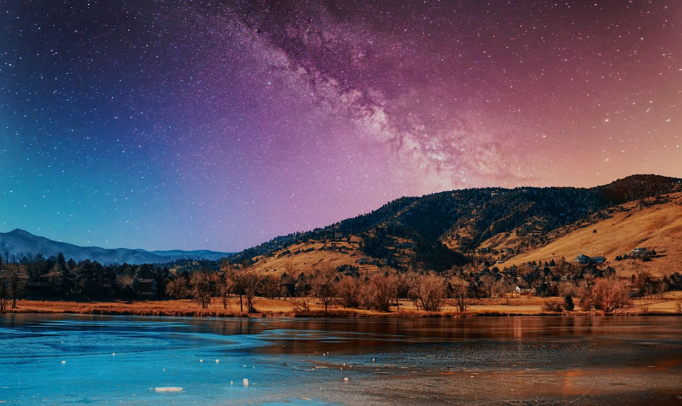 A clear view of the night sky at Wonderland Lake, Boulder, CO