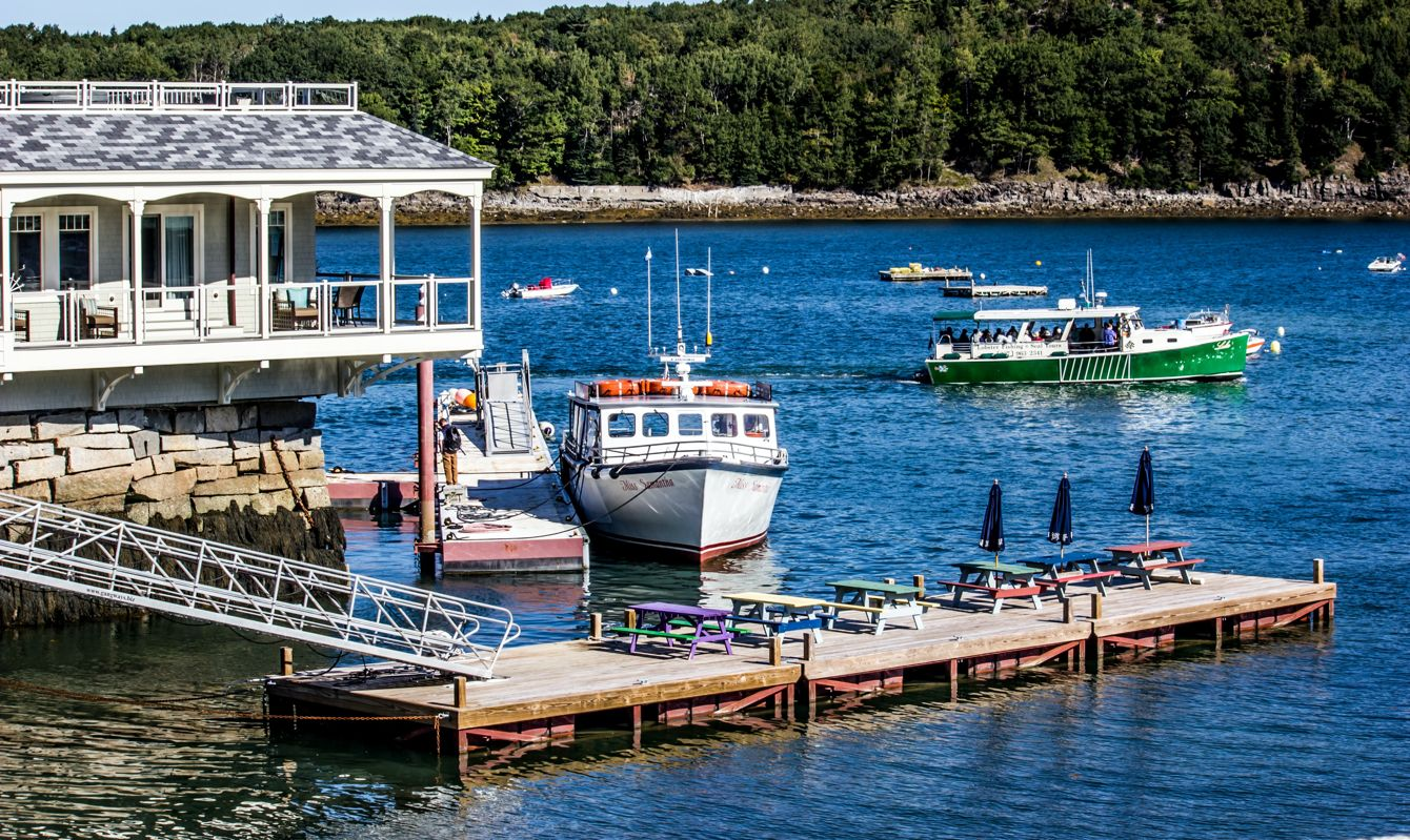Boat on the harbor in Bar Harbor, United States