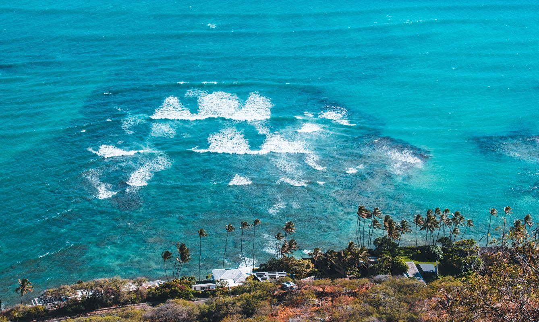 View from Diamond Head in Hawaii.