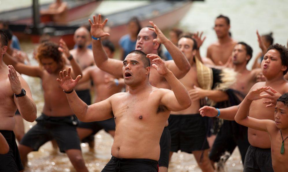 Maori warriors with tatoos, celebrating Waitangi Day, the anniversary of the treaty of Waitangi between the British government and the maori