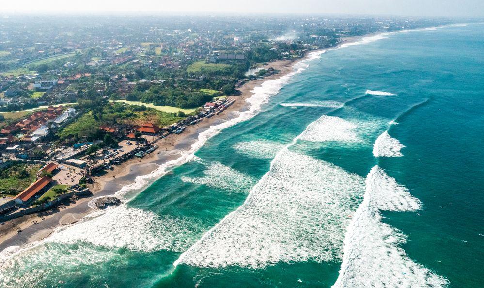 an aerial view of Canggu in Bali