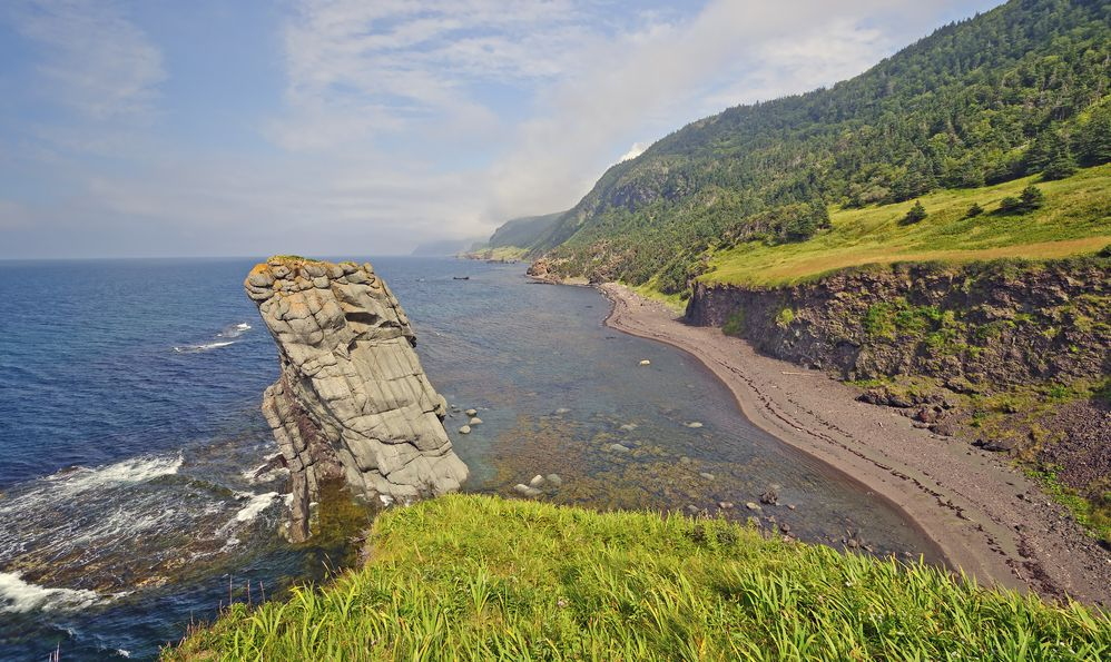Coastal Panorama on a Remote Coast on the Green Gardens trail in Gros Morne National Park in Newfoundland, Canada