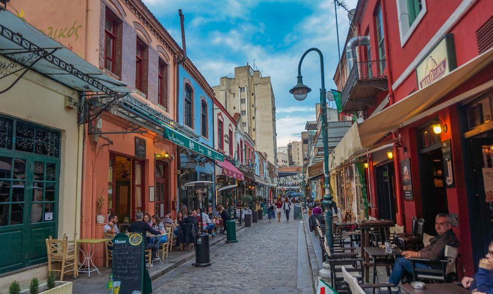 quaint street view in Thessaloniki, greece