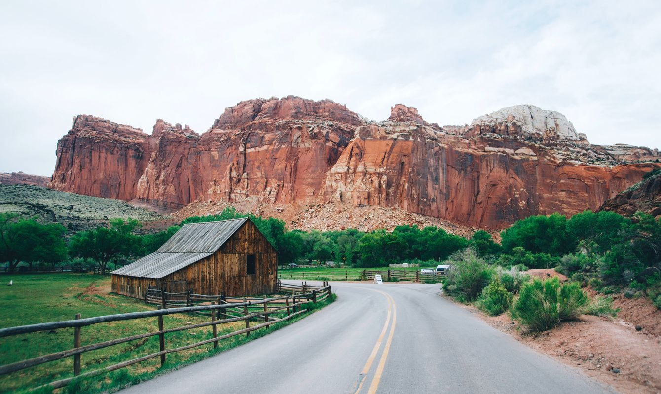 Road against a backdrop of mountains in Capitol Reef