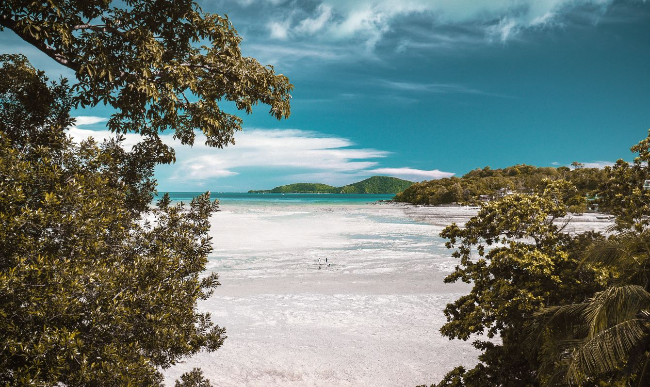 Trees frame the frothy white ocean at Rawai beach in Phuket.