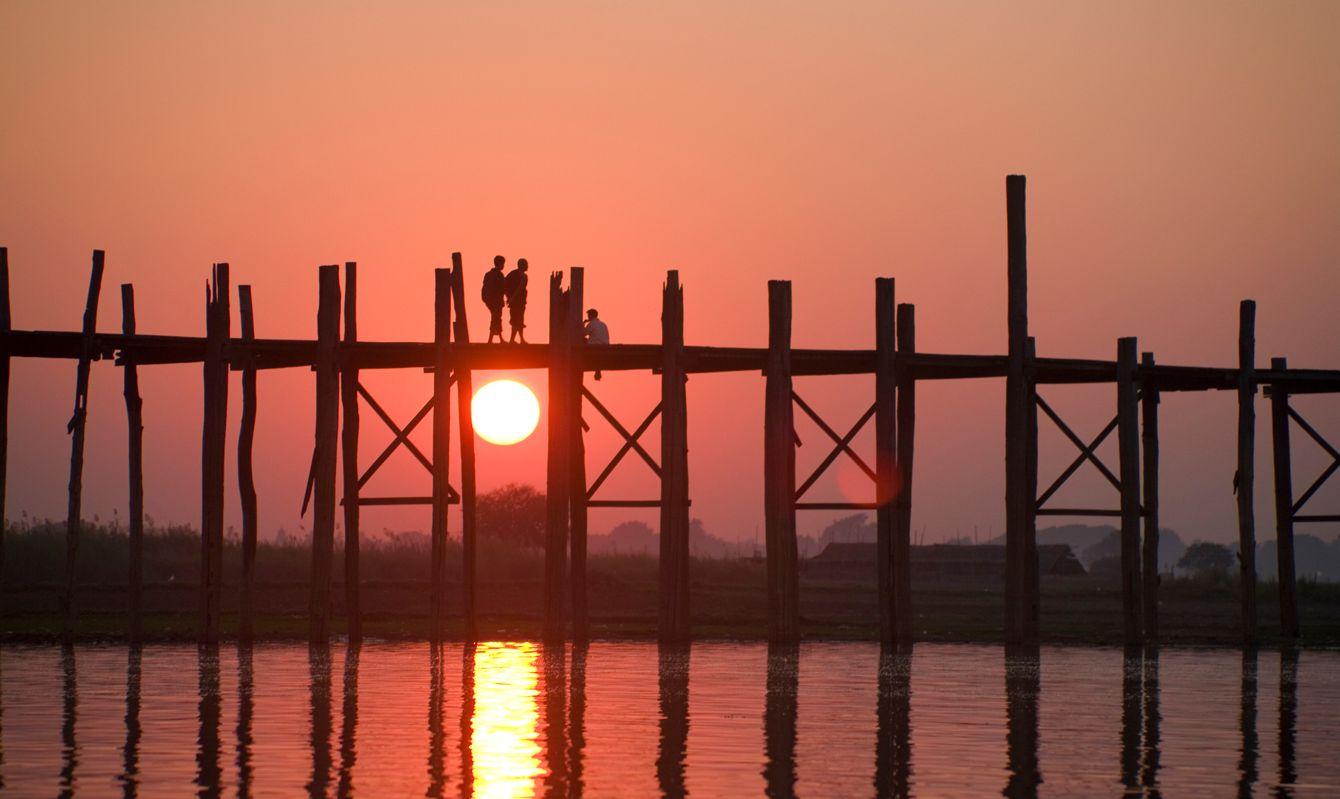 Myanmar: Crossing U Bein Teak Bridge at Sunset