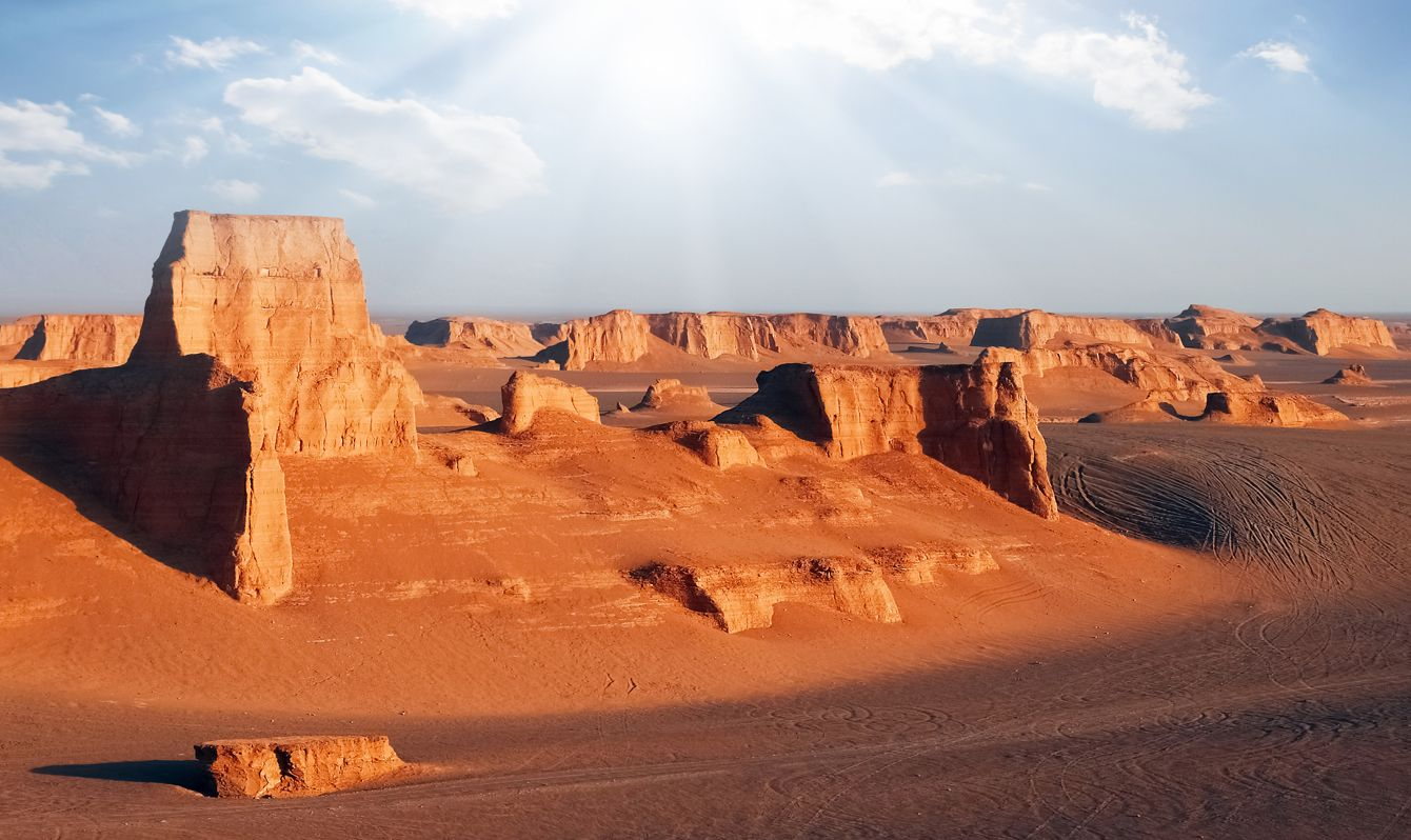 Rocky red formations in the Dasht e Lut desert. Nature of Iran. Persia.