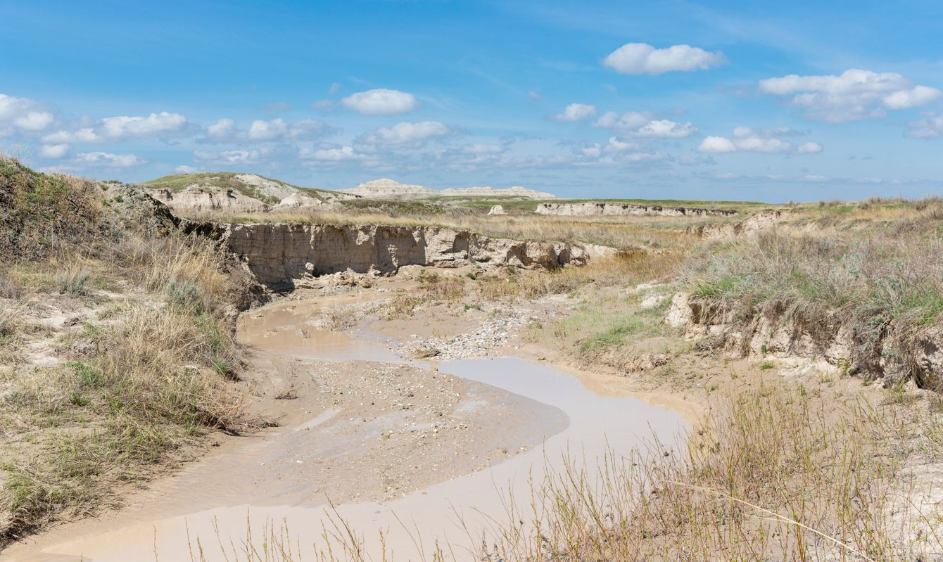Landscape view of Badlands National Park near Sage Creek (South Dakota).