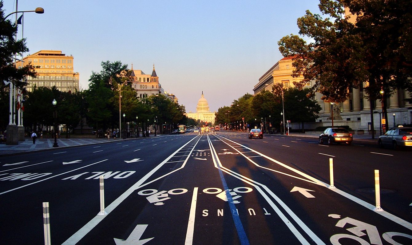 Beautiful sunset on East Capitol street in Washington DC on a hot summer afternoon