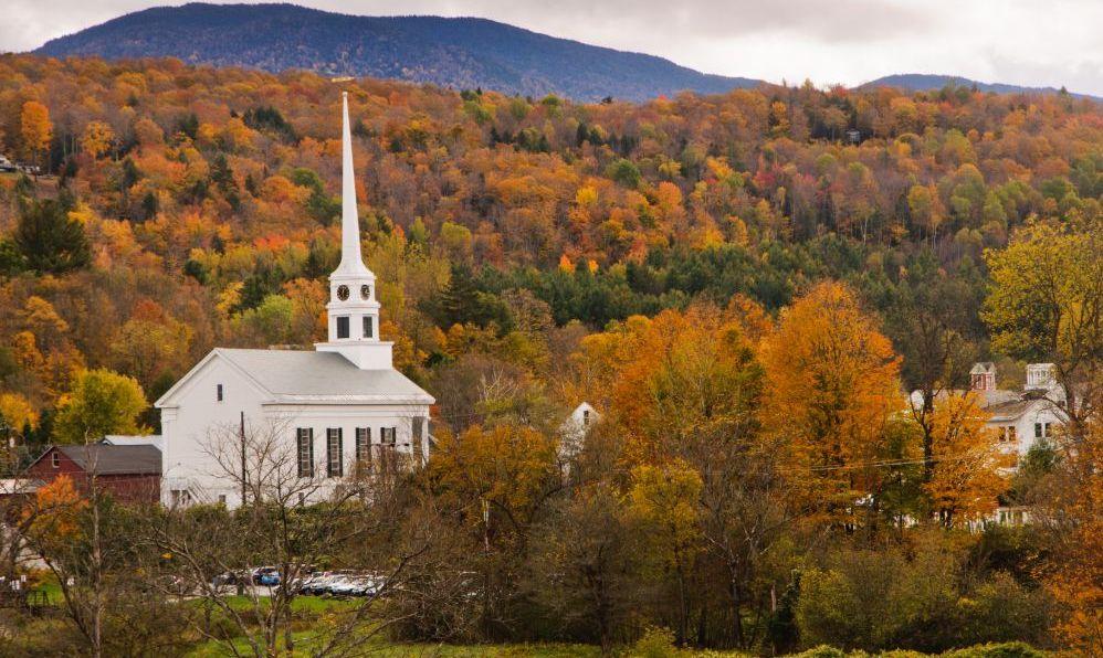 stowe vermont small town church autumn