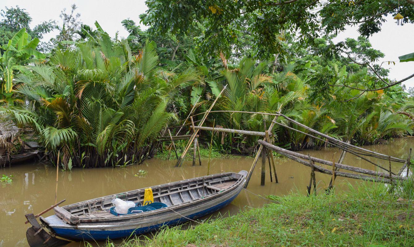 Monkey bridge over Mekong river in Vietnam, people use it to cross the Mekong delta.