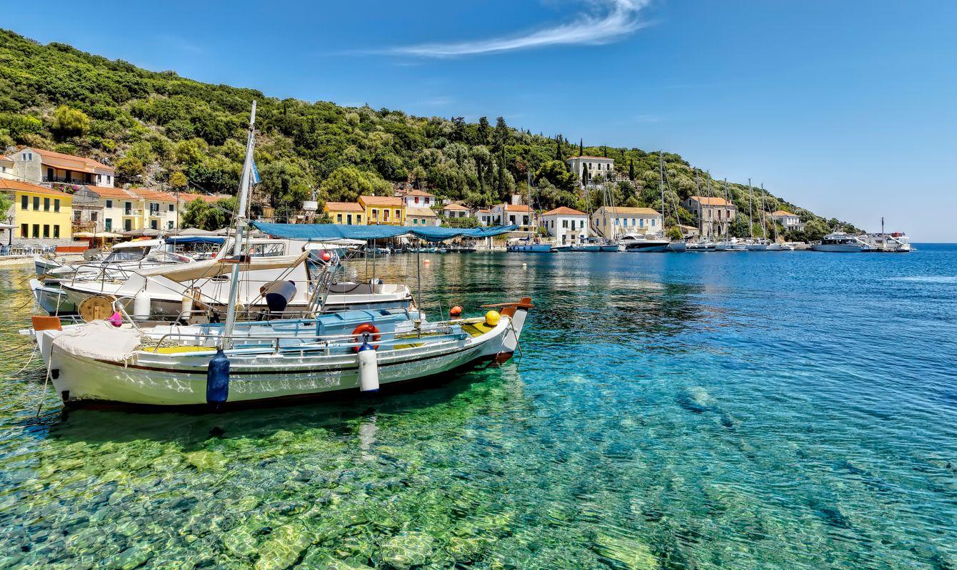 The small harbour of Kioni, Ithaka, in the Ionian Sea.