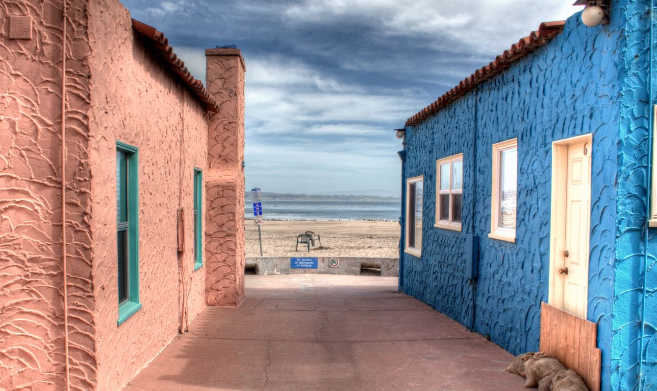 Colorful houses along Capitola Beach