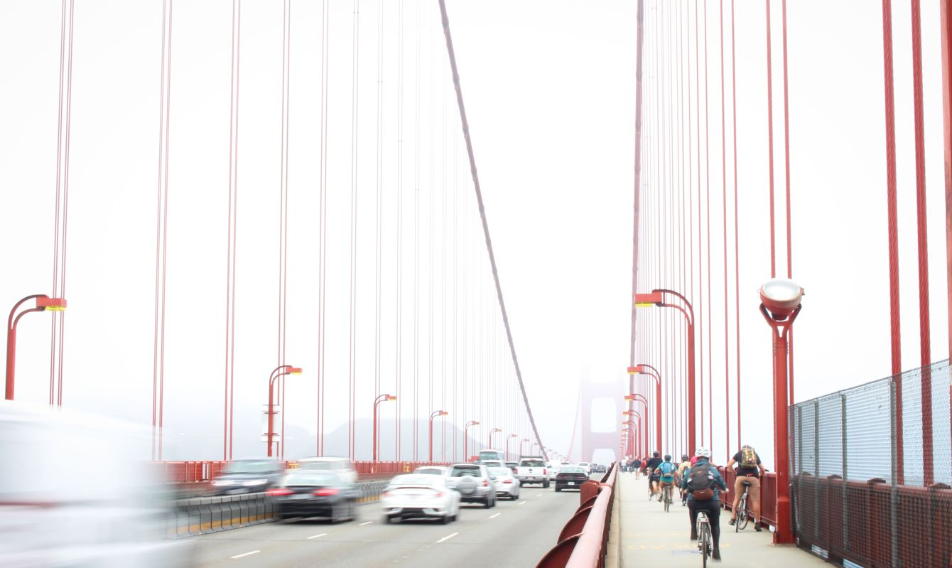 Bicyclists on the Golden Gate bridge
