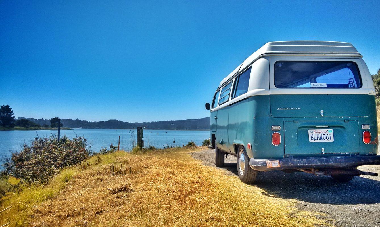 Van parked in front of Stinson Beach