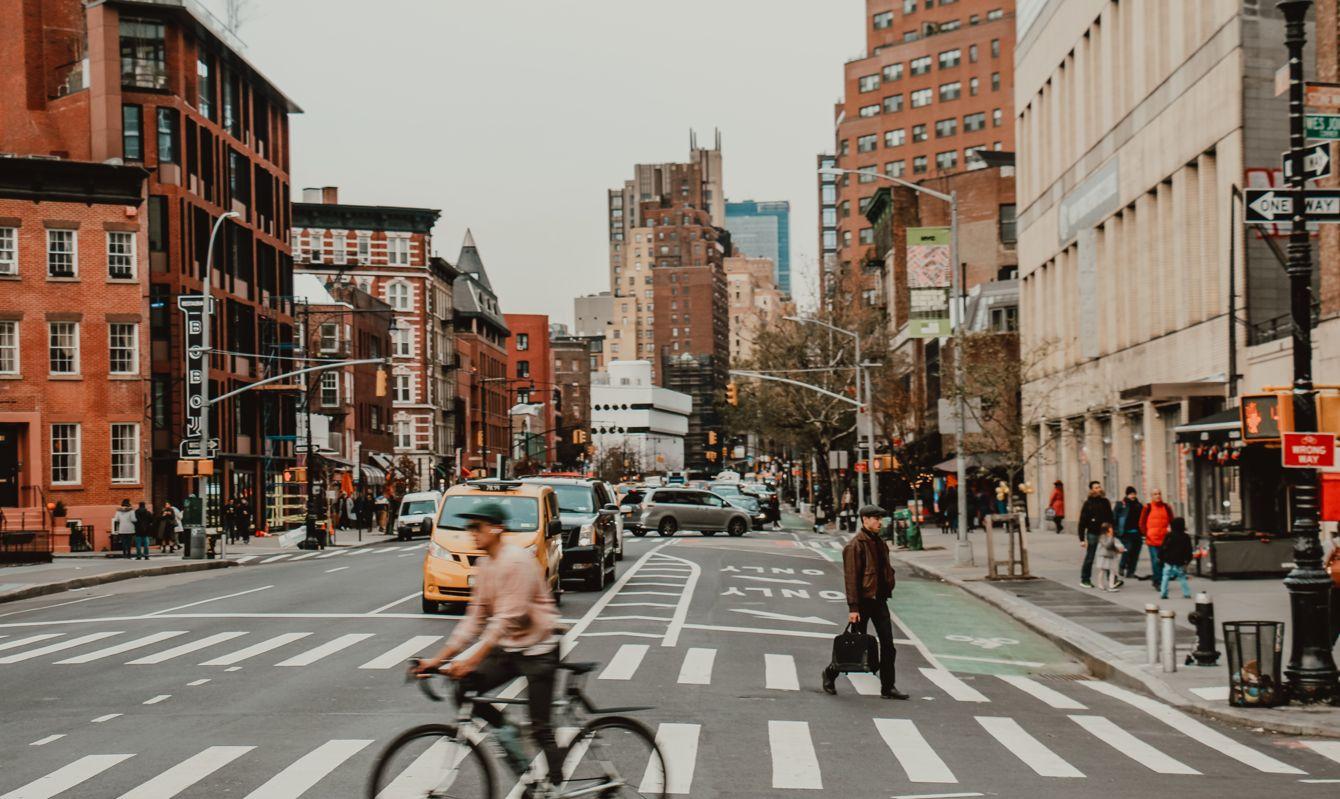 Bicyclist on New York City streets