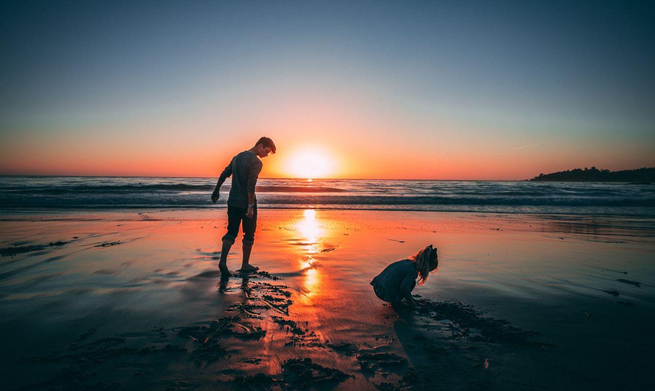 Kids playing at sunset on Carmel Beach