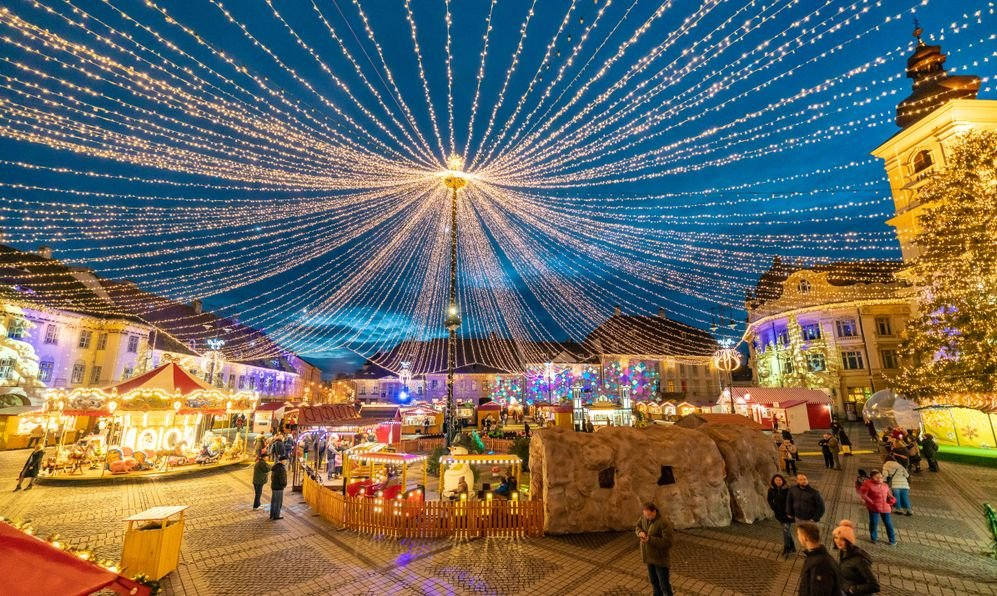 Sibiu Christmas Market in Piata Mare, Transylvania, Romania