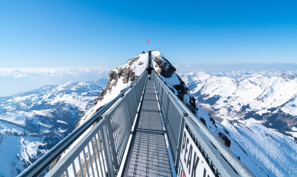 """A breathtaking bridge above the sky_""""The Titlis Cliff Walk"""" is a pedestrian bridge along the cliff of Mount Titlis in the Swiss Alps. Built at around 10,000 feet (3,000 m) above sea level"""