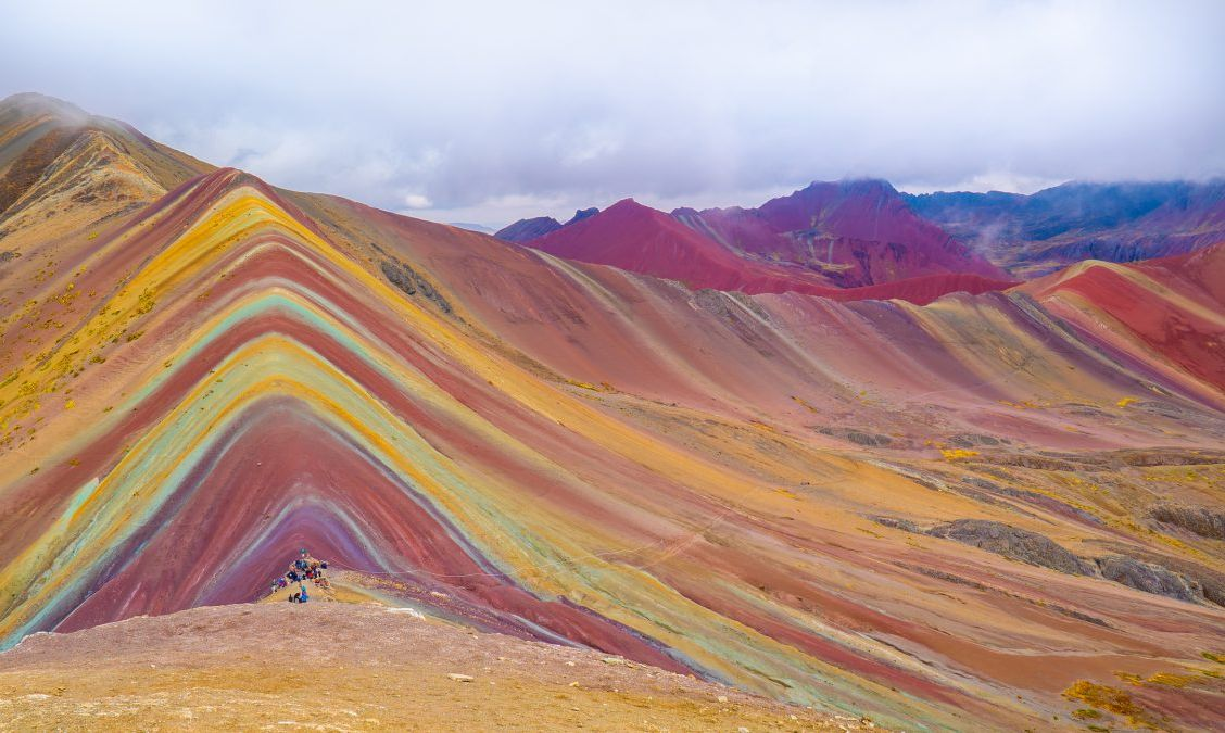 Rainbow Mountain with its multi-colored layers rock formations.