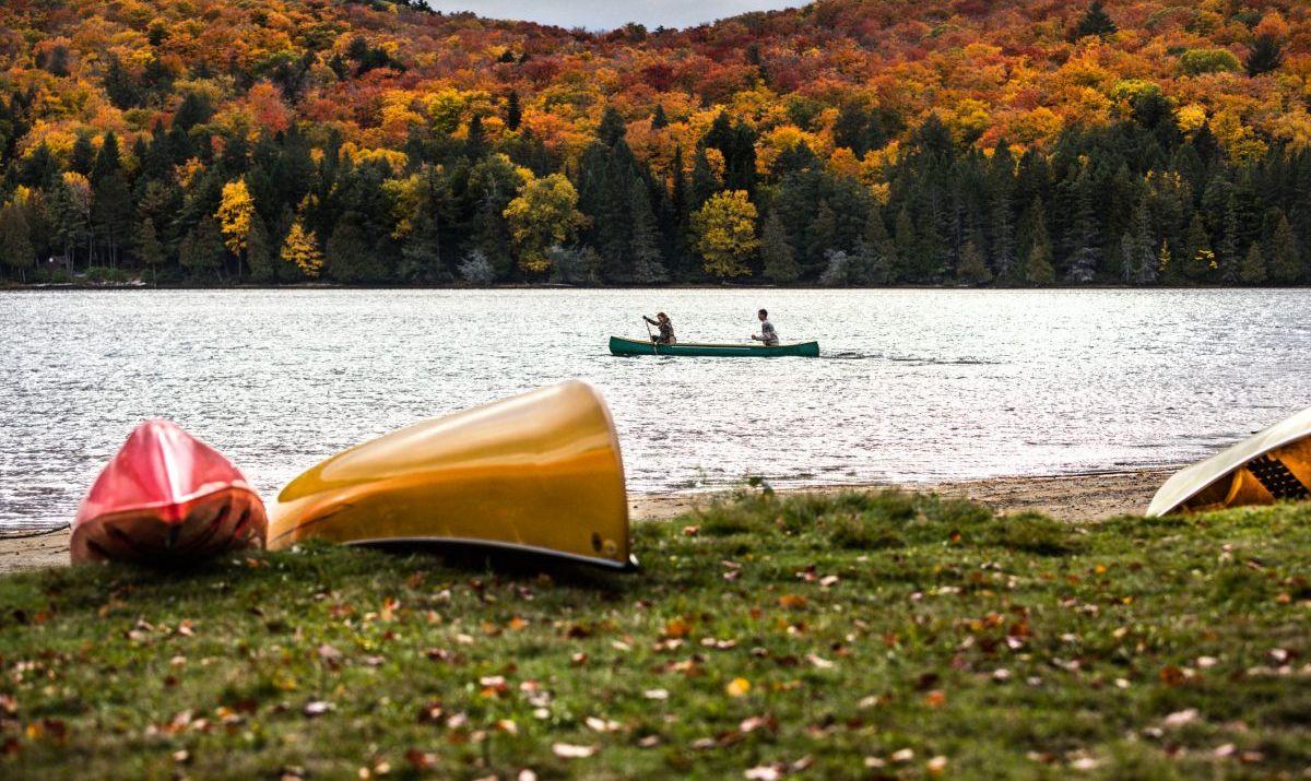 Person paddling on a lake