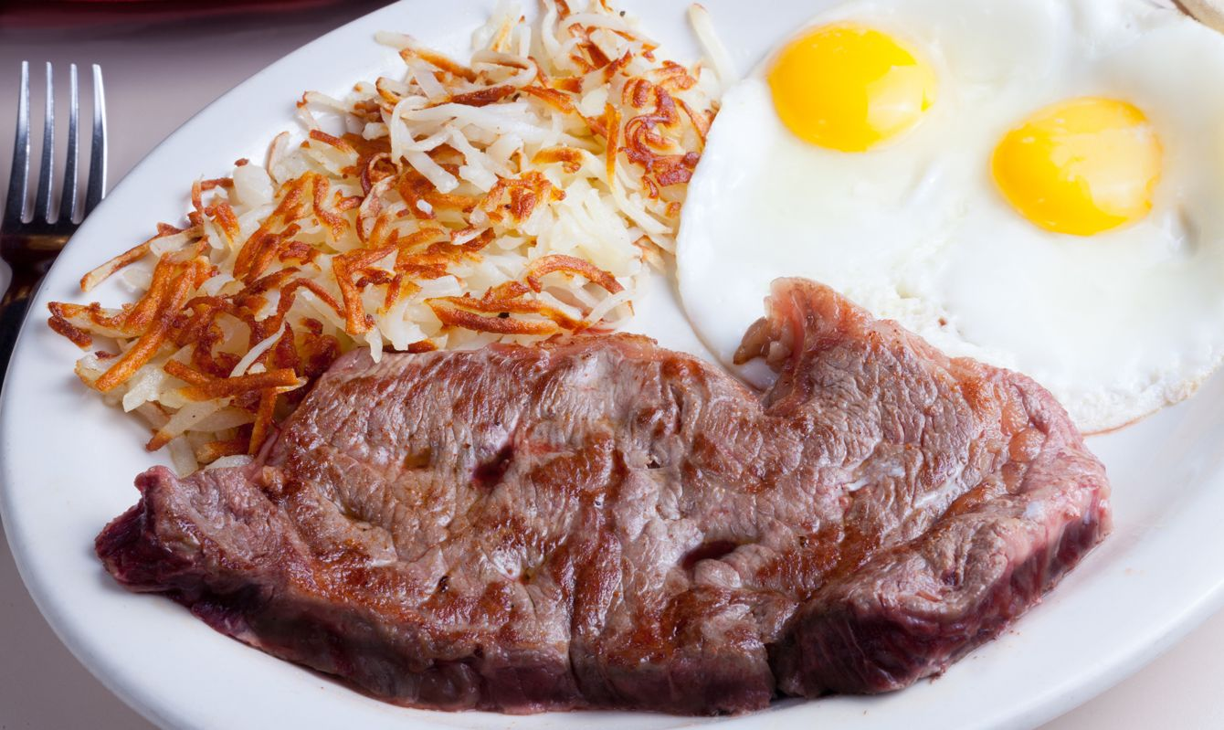 Steak, eggs and hashbrowns with fork, and partial sombrero