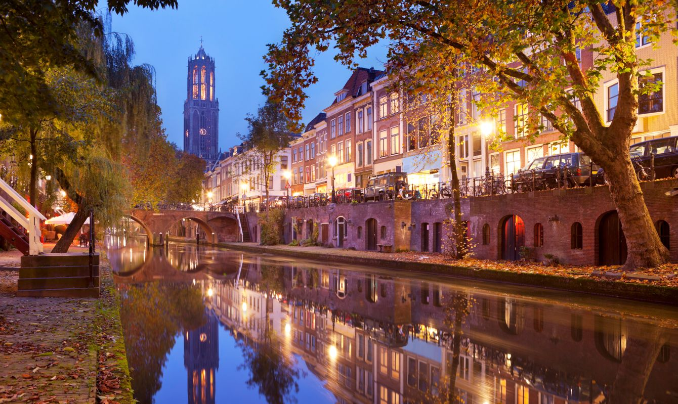 """""""Canal and the Dom Tower in the city of Utrecht, The Netherlands by night."""""""