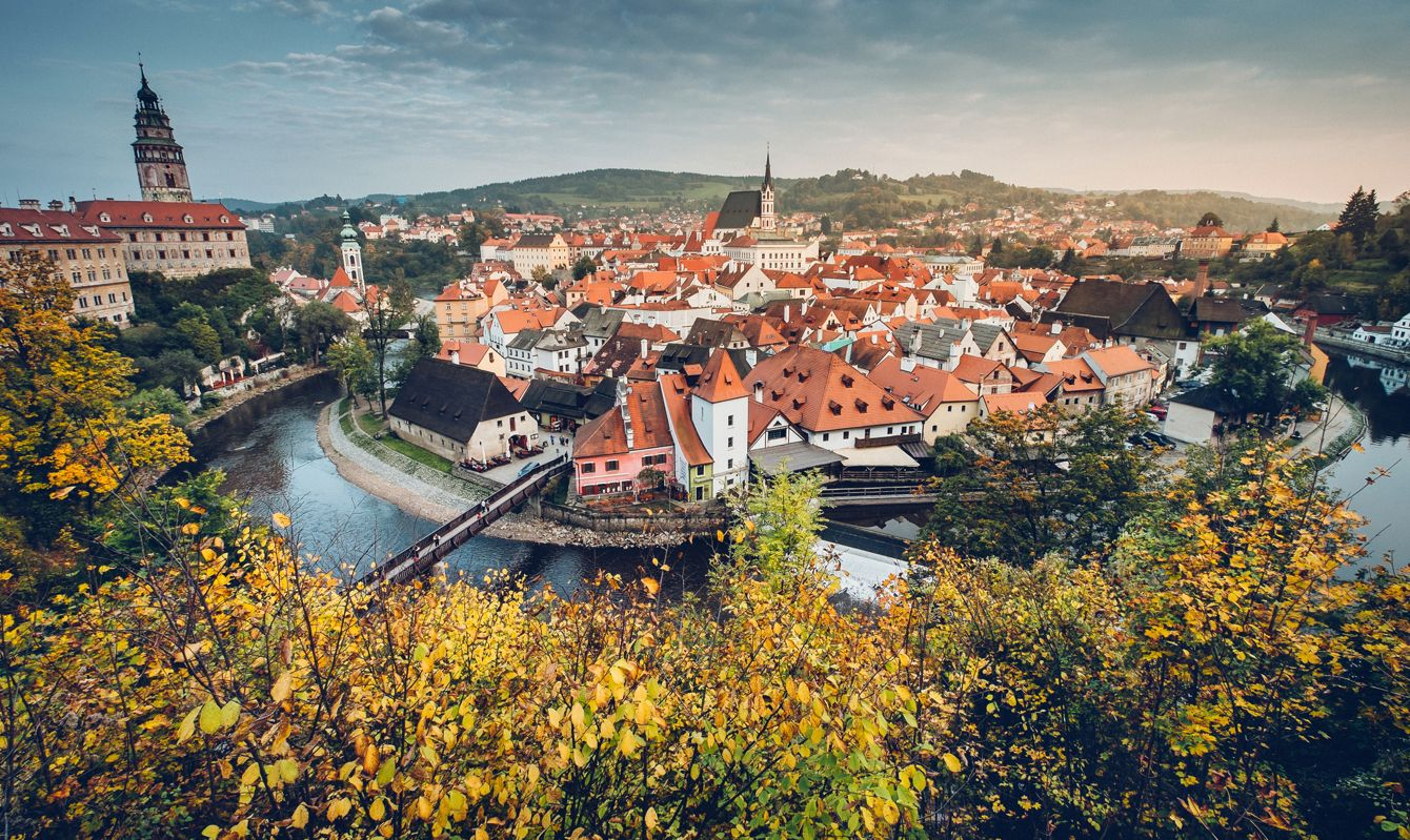 The panoramic view of the medieval historic town of Cesky Krumlov, Czech Republic.