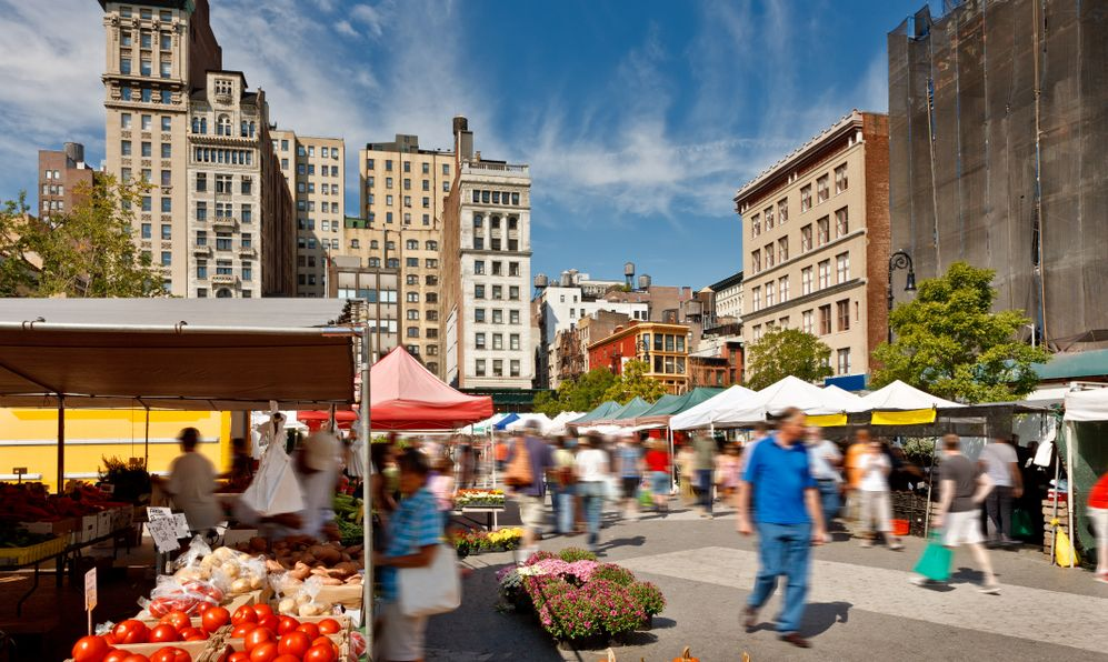 Union Square Farmers' Market (also known as Greenmarket) in the heart of Manhattan