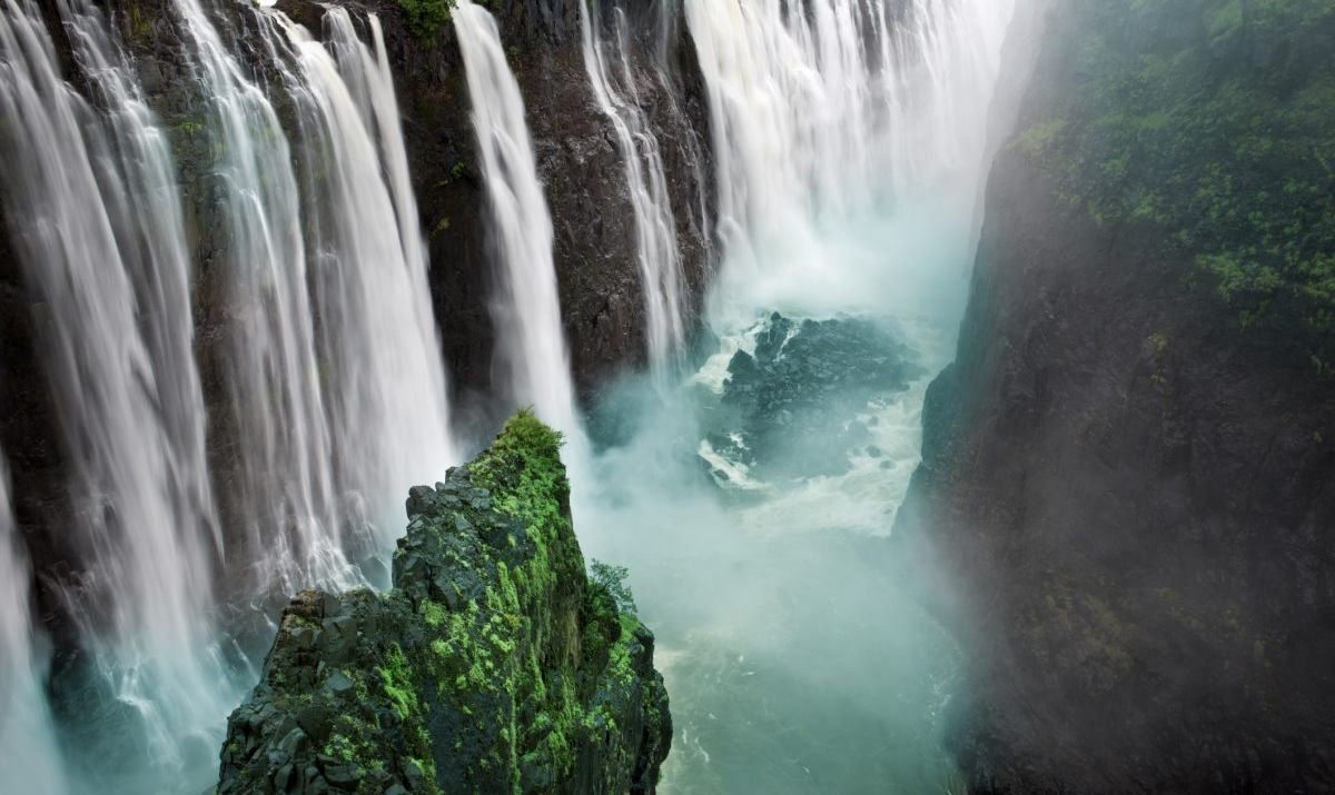 Victoria Falls sits on the border of Zimbabwe and Zambia and is one of the largest waterfalls in the world.