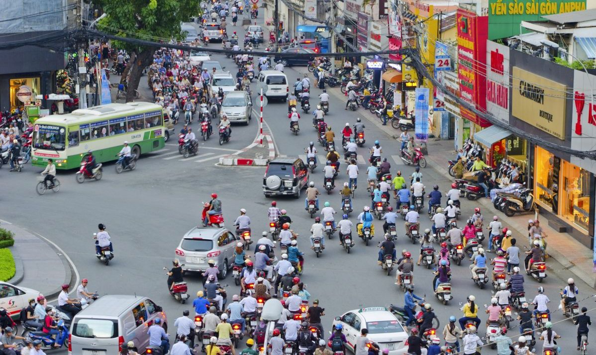 A typical day on the streets in Ho Chi Minh City.