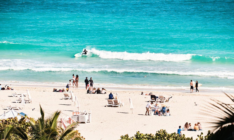 Beach day scene in Miami Beach, FL