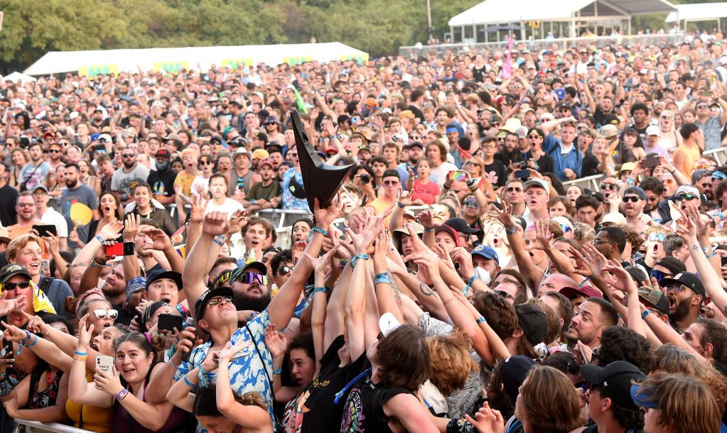 CHICAGO, ILLINOIS - JULY 31: Crowd catches Wes Borland's guitar during Lollapalooza 2021 at Grant Park on July 31, 2021 in Chicago, Illinois.