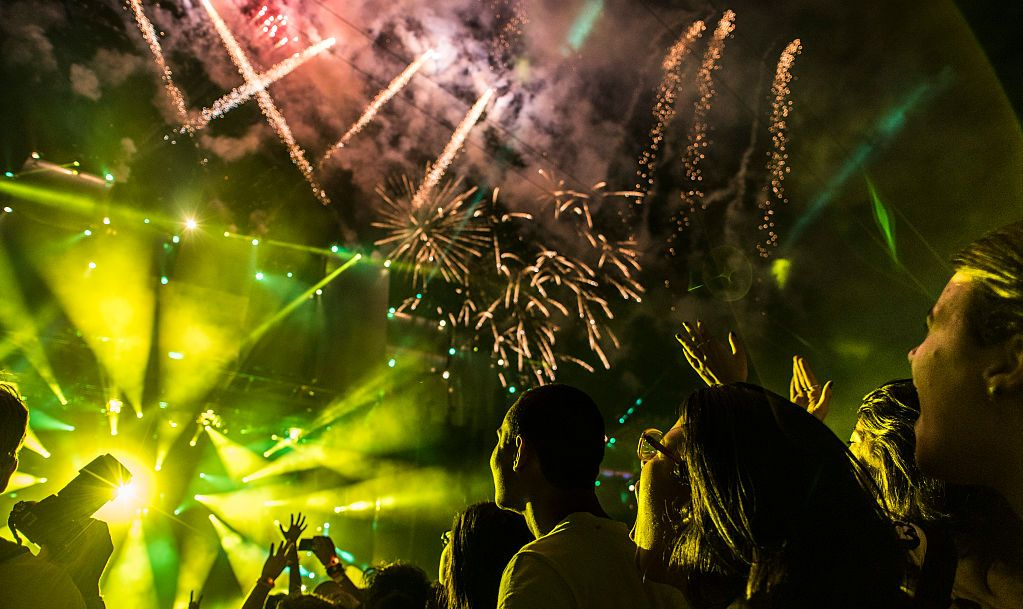 RIO DE JANEIRO, BRAZIL - SEPTEMBER 18: Fireworks at the beginning of Rock in Rio 30 anos performance at 2015 Rock in Rio on September 18, 2015 in Rio de Janeiro, Brazil.