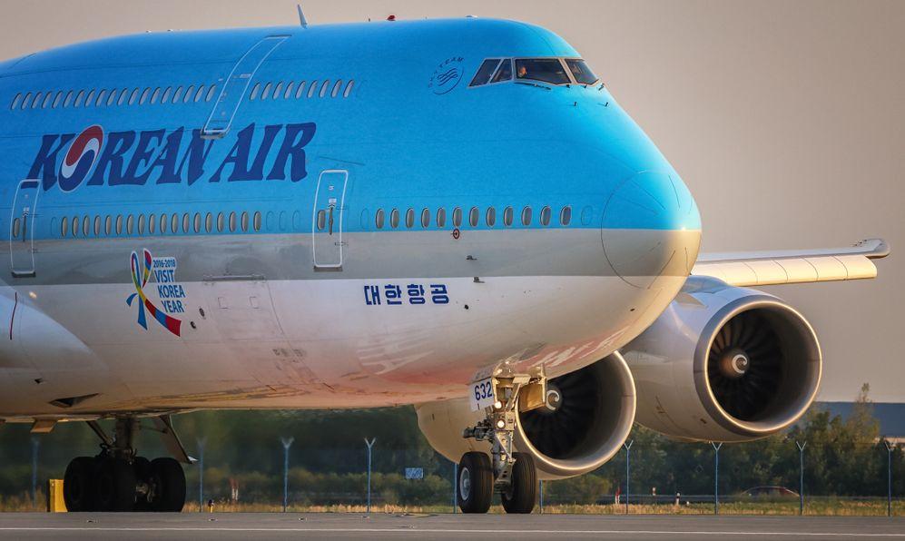 Boeing 747-8i of Korean Air land at PRG Airport in Prague