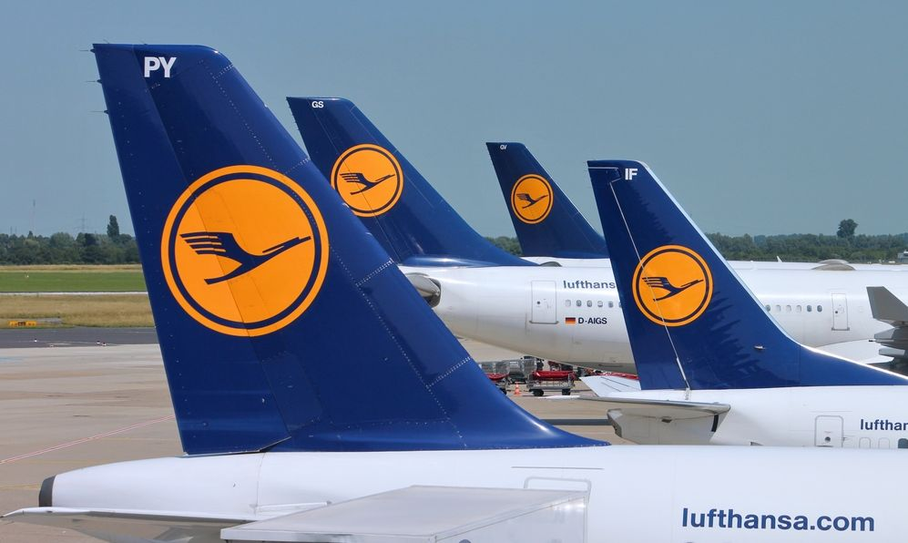 Multiple Lufthansa aircraft wait on July 8, 2013 in Dusseldorf Airport, Germany
