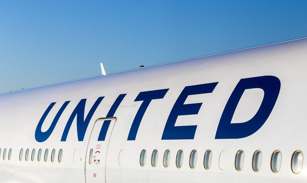 United Airlines aircraft logo at an aircraft in Frankfurt