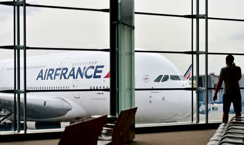 Air France airplanes are seen on Charles de Gaulle International Airport