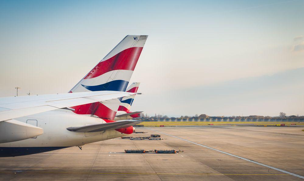 British Airways tail livery at the Heathrow International Airport