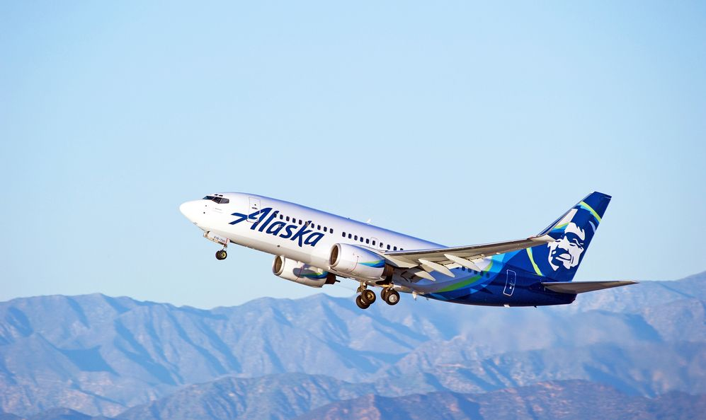 Alaska Airlines Boeing 737-790(WL) aircraft is airborne as it departs Los Angeles International Airport